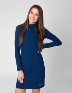 Tmavě modré šaty se stojáčkem
