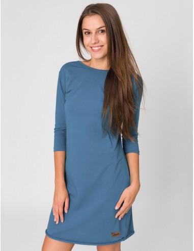Modré šaty Angelika s 3/4 rukávy