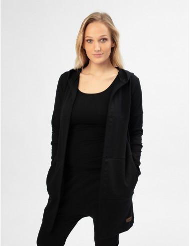 Pruhovaný kardigan s kapucí černý