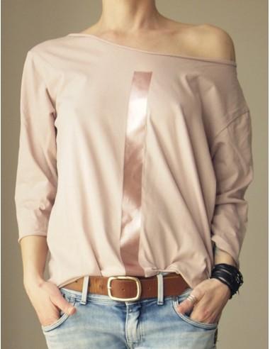 Růžové tričko s 3/4 rukávy Čára