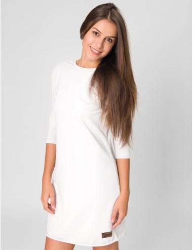 Bílé šaty Angelika s 3/4 rukávy