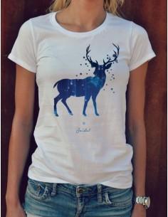 3bb7d931860b Bílé dámské originální tričko s potiskem jelen Deer imagination