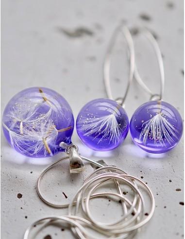 Stříbrný set Pampeliška fialový