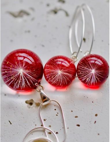 Stříbrný set Pampeliška červený