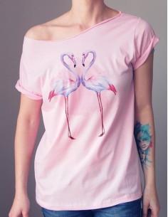 Růžové tričko Plameňáci