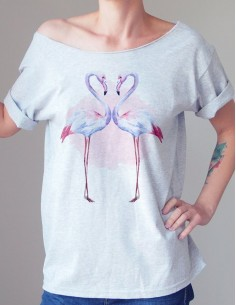 Šedé tričko Flamingo