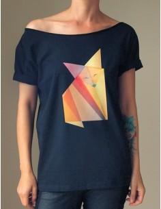 Černé tričko Origami fox
