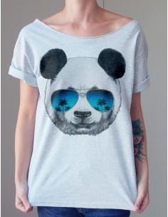 Šedé volné tričko Panda