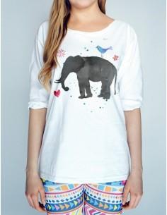 Bílé tričko Slon akvarel