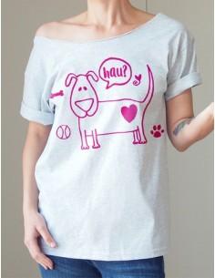 Šedé tričko Dog violet
