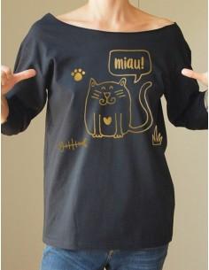 Černé tričko Cat black