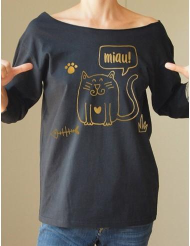 7c15f5b43d06 Černé volné dámské handmade originální tričko s potiskem Cat black