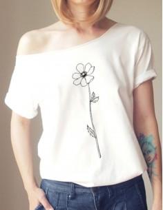 Bílé tričko Květina