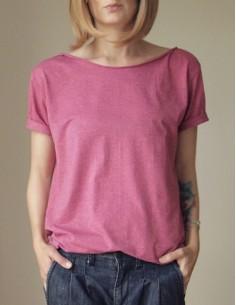 Červený melanž oversize tričko