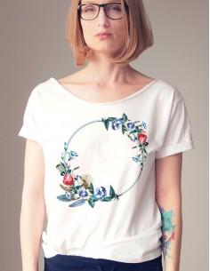 Bílé tričko Květinový kruh