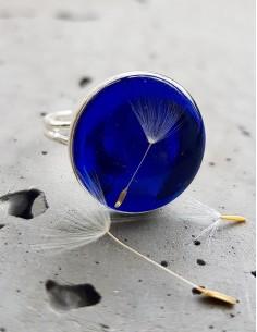 Prsten Pampeliška tmavě modrý