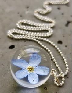 Stříbrný náhrdelník Pomněnka