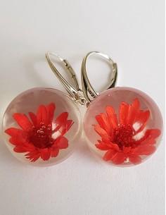 Stříbrné náušnice Květ červené